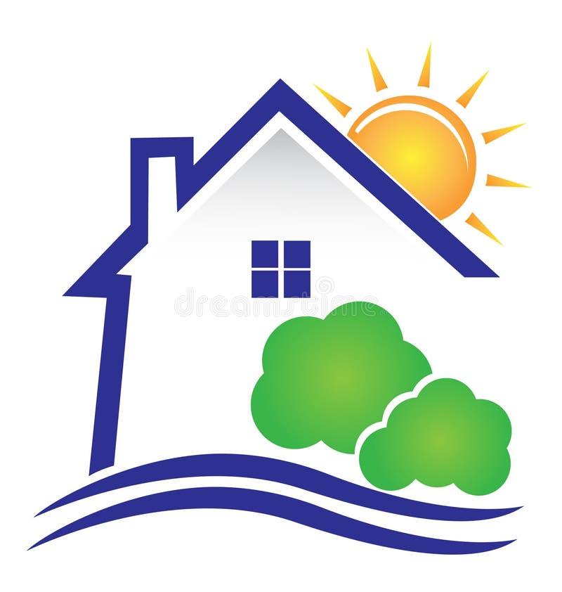 Diseño del sol y de los arbustos de la casa ilustración del vector