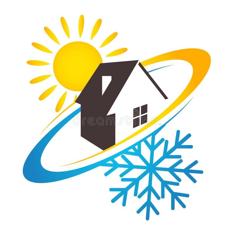 Diseño del sol y del copo de nieve de la casa para el negocio libre illustration