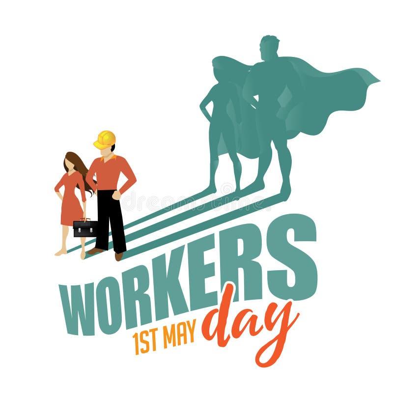Diseño del super héroe del día de los trabajadores de mayo primer stock de ilustración
