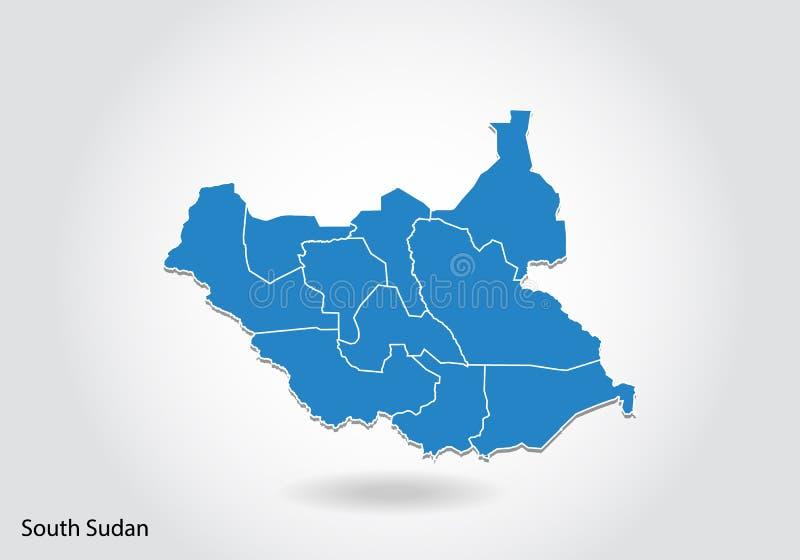 Diseño del sur del mapa de Sudán con el estilo 3D Mapa del sur azul de Sudán y bandera nacional Mapa simple del vector con el con libre illustration