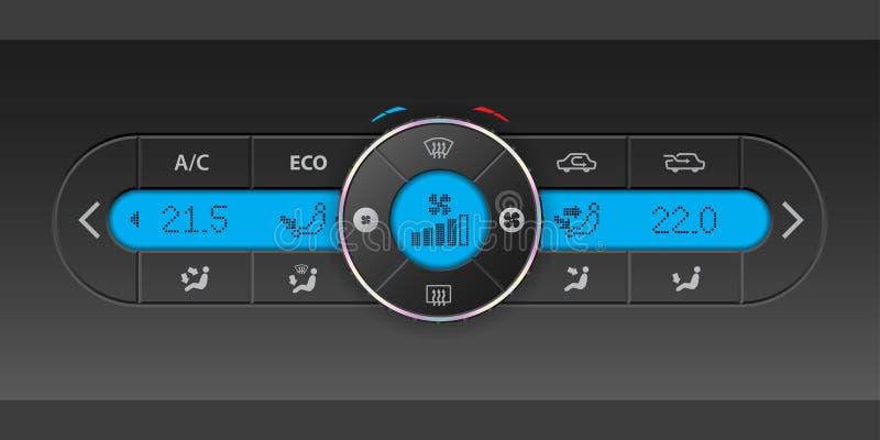 Diseño del tablero de instrumentos de la condición del aire de Digitaces con el lcd azul libre illustration