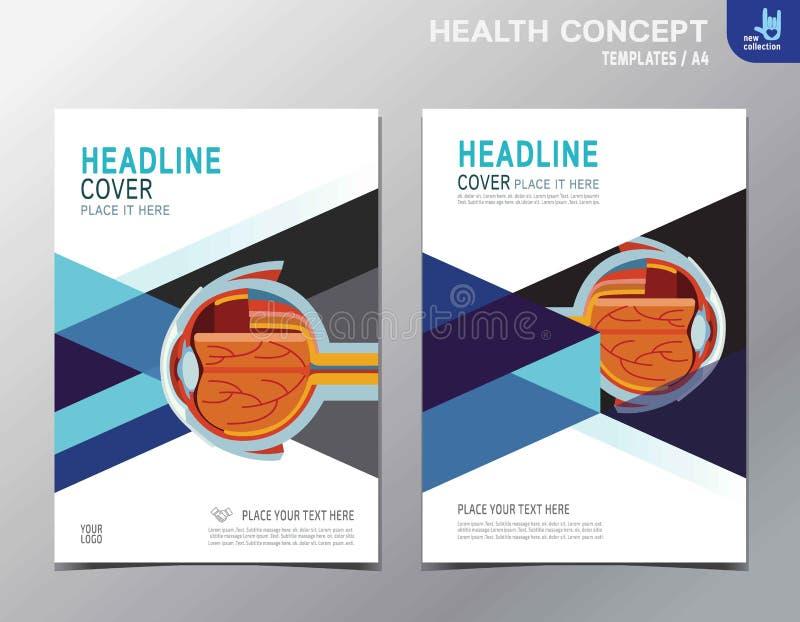 Diseño del tamaño de la plantilla A4 del folleto del prospecto de la salud del aviador stock de ilustración