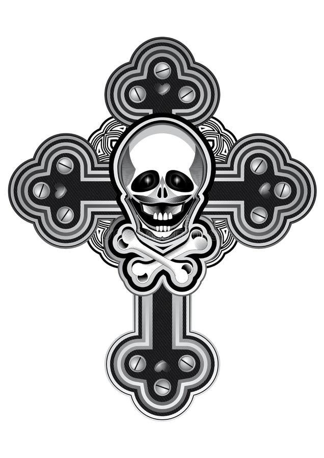 Diseño del tatuaje de la cruz del estilo de Steampunk ilustración del vector