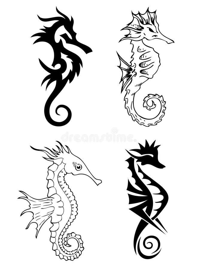 Diseño del tatuaje del caballo de mar libre illustration