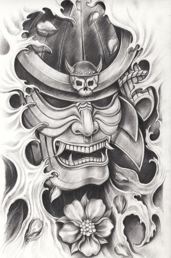 Diseño del tatuaje del guerrero del samurai stock de ilustración