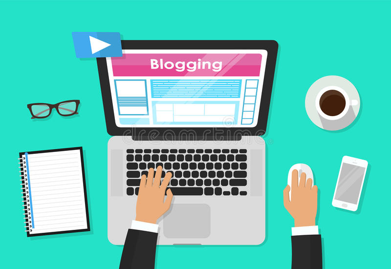 Diseño del tema del blog, el blogging y de los blogglers, gráfico del ejemplo del vector stock de ilustración