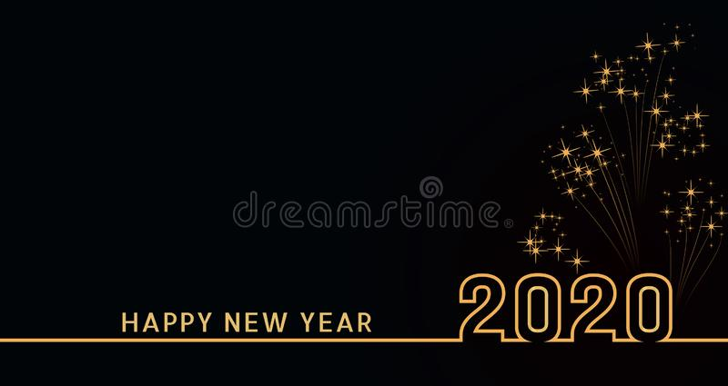 Diseño del texto de la Feliz Año Nuevo 2020 con números de oro en fondo negro con los fuegos artificiales Bandera del día de fies libre illustration