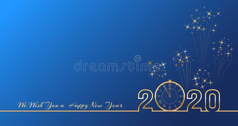 Diseño del texto de la Feliz Año Nuevo 2020 con números de oro y reloj del vintage en fondo azul con los fuegos artificiales Band ilustración del vector