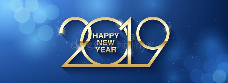 Diseño del texto de la Feliz Año Nuevo 2019 Ejemplo del saludo del vector con números de oro libre illustration