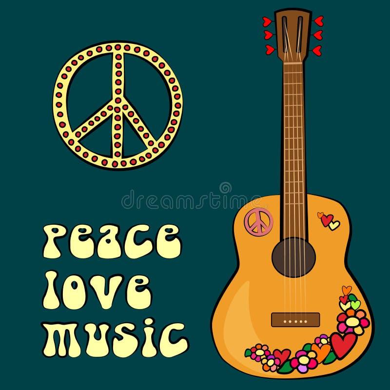 Diseño del texto de la MÚSICA del AMOR de la PAZ con símbolo y la guitarra de paz imagen de archivo