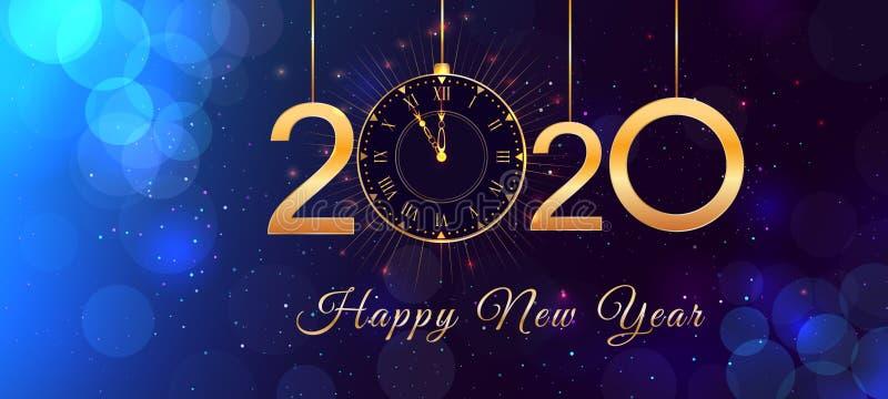 Diseño del texto de la víspera de la Feliz Año Nuevo 2020 con números de oro brillantes y reloj del vintage en el fondo azul con  libre illustration