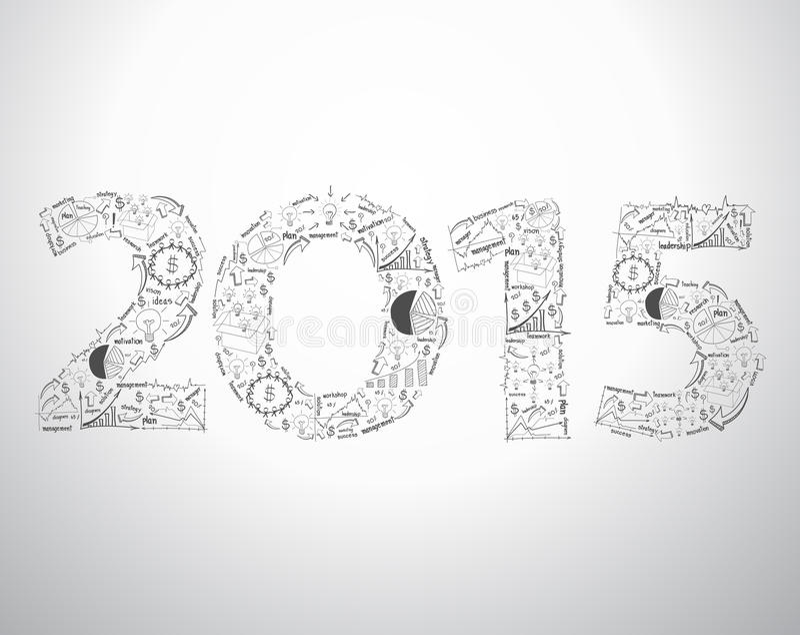Diseño del texto del Año Nuevo 2015 del vector con negocio creativo del dibujo libre illustration