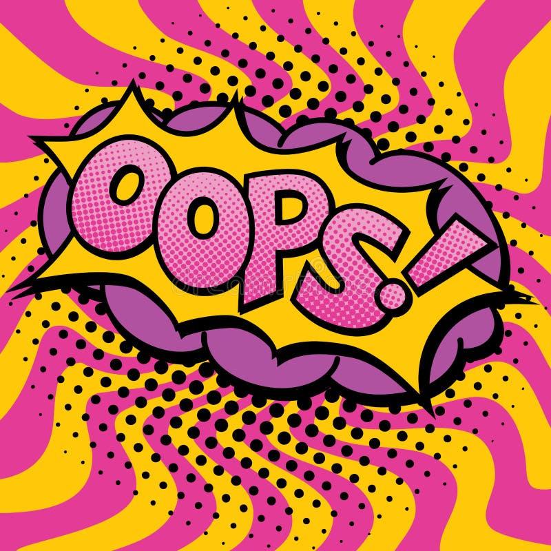 Diseño del texto del arte pop OOPS stock de ilustración