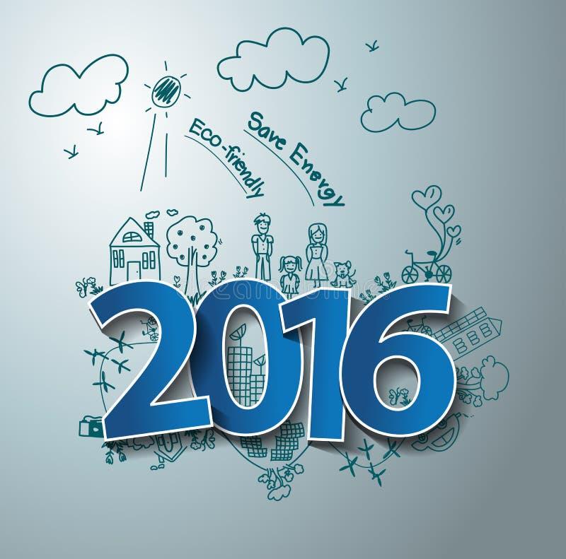 Diseño del texto del vector 2016 en el eco del dibujo amistoso y la energía de la reserva stock de ilustración