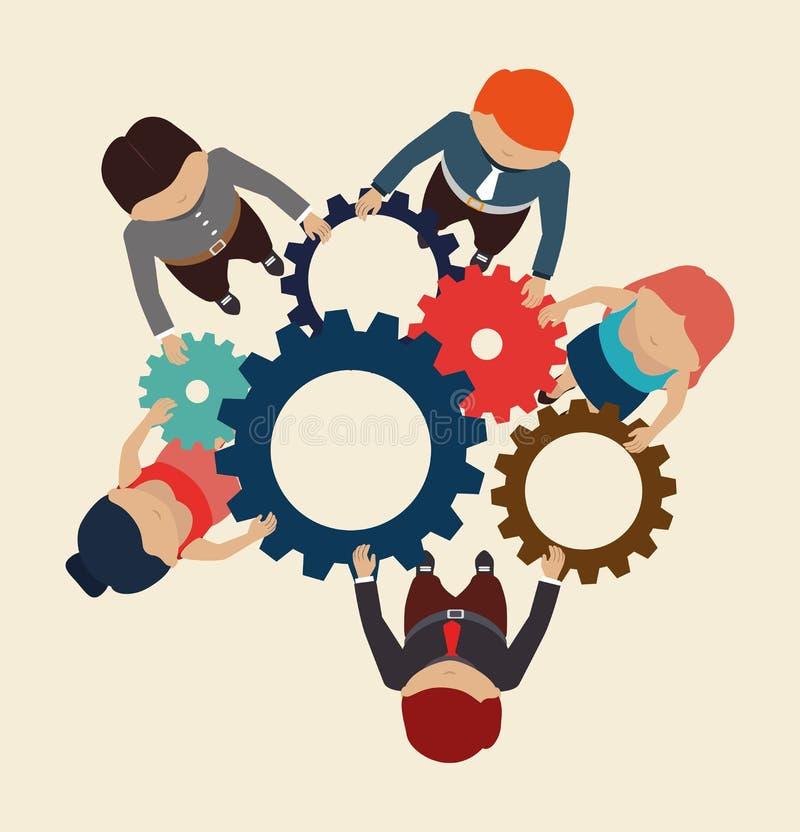 Diseño del trabajo en equipo stock de ilustración