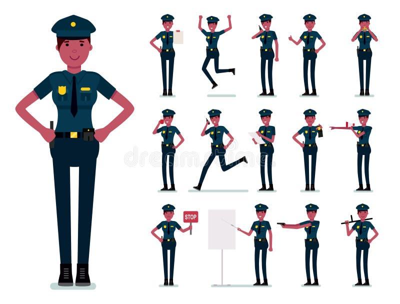 Diseño del vector del carácter de la mujer policía Oficial de policía africano de sexo femenino Ejemplo plano del diseño de la hi libre illustration