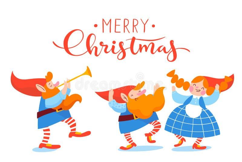 Diseño del vector del cartel de la Navidad con los duendes de la historieta que bailan y que juegan música stock de ilustración