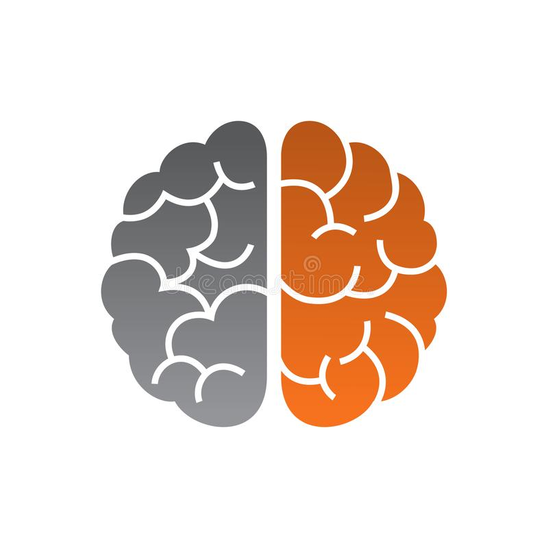 Diseño del vector del cerebro humano con color de tono dos fotos de archivo