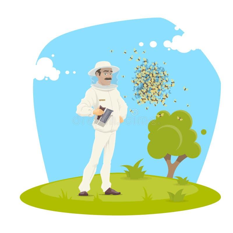 Diseño del vector del colmenar y del apicultor de la apicultura ilustración del vector