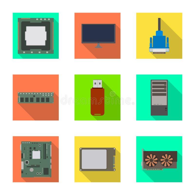 Diseño del vector de accesorios y de icono del dispositivo Fije de accesorios y del símbolo común de la electrónica para la web libre illustration