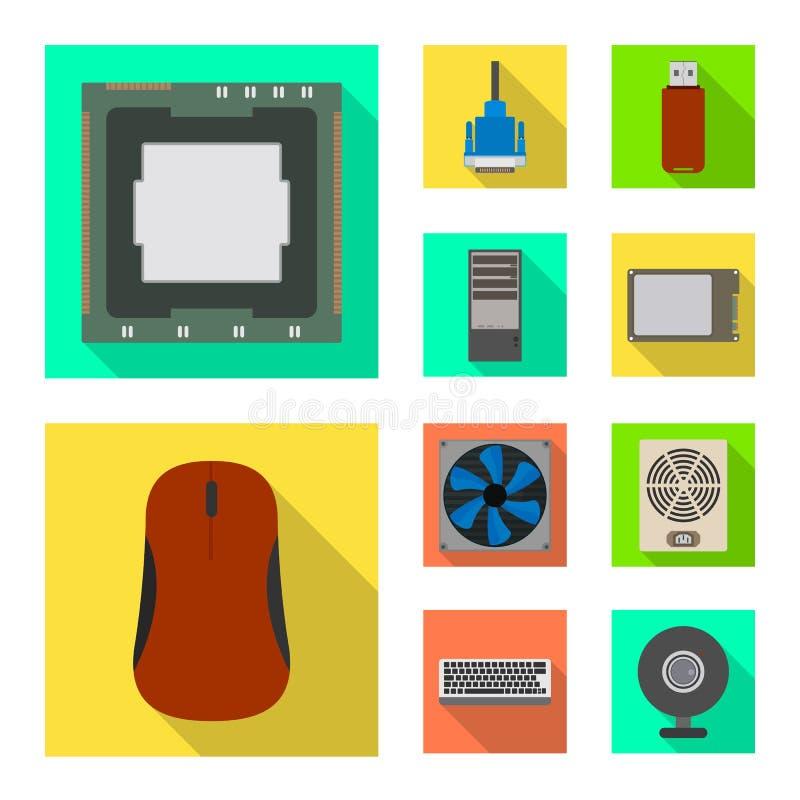 Diseño del vector de accesorios y de muestra del dispositivo Fije de accesorios y del icono del vector de la electrónica para la  stock de ilustración