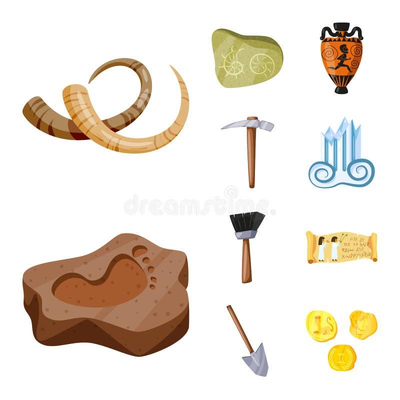 Diseño del vector de arqueología y de muestra histórica Fije del icono de la arqueología y del vector de la excavación para la ac stock de ilustración