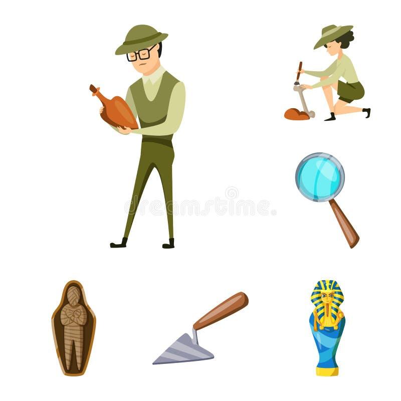 Diseño del vector de arqueología y de símbolo histórico Fije del símbolo común de la arqueología y de la excavación para la web ilustración del vector