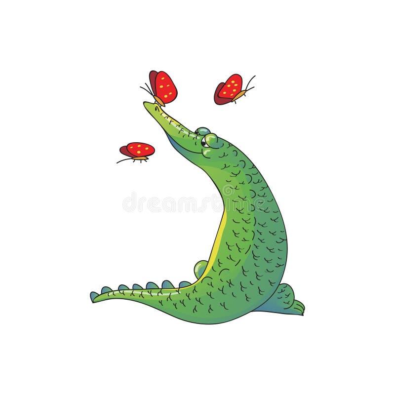 Diseño del vector de cocodrilo y de mariposas verdes adorables Animal salvaje Personaje de dibujos animados divertido libre illustration