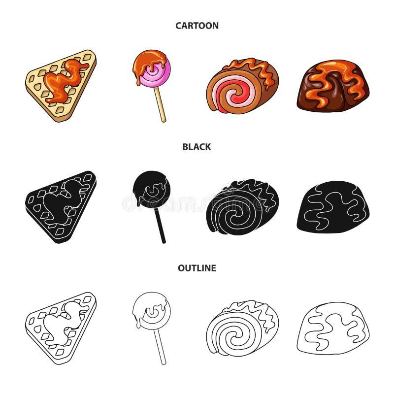 Diseño del vector de confitería y de icono culinario Fije del icono del vector de la confitería y del producto para la acción stock de ilustración