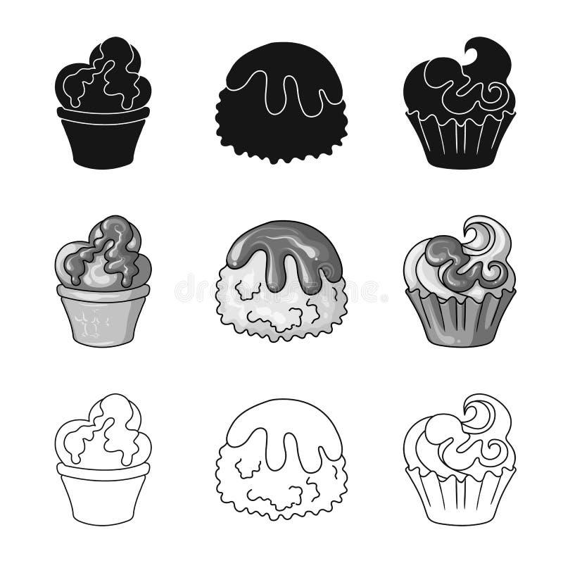 Diseño del vector de confitería y de muestra culinaria Colección de ejemplo del vector de la acción de la confitería y del produc stock de ilustración