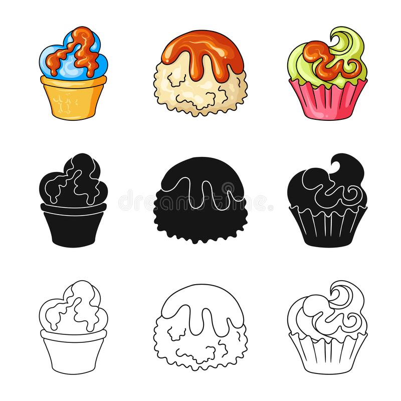 Diseño del vector de confitería y de símbolo culinario Fije del símbolo común de la confitería y del producto para la web libre illustration