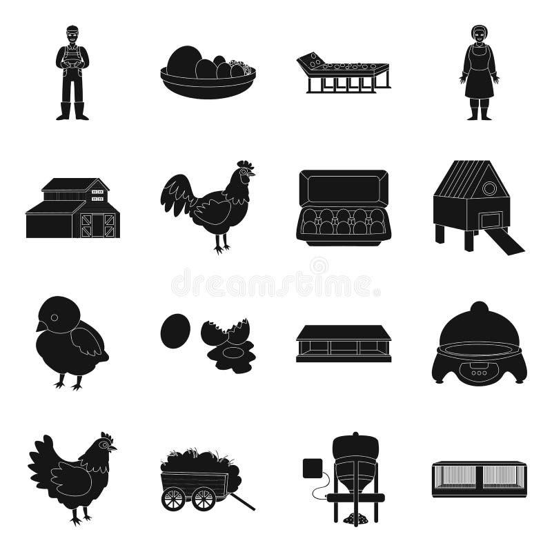 Diseño del vector de cosecha y de icono del cultivo Colección de icono del vector de la cosecha y de las aves de corral para la a libre illustration