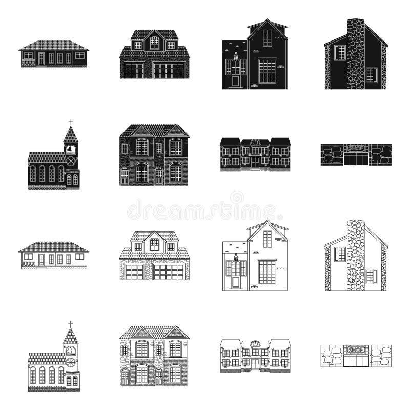 Diseño del vector de edificio y de icono delantero Colección de ejemplo común del vector del edificio y del tejado stock de ilustración