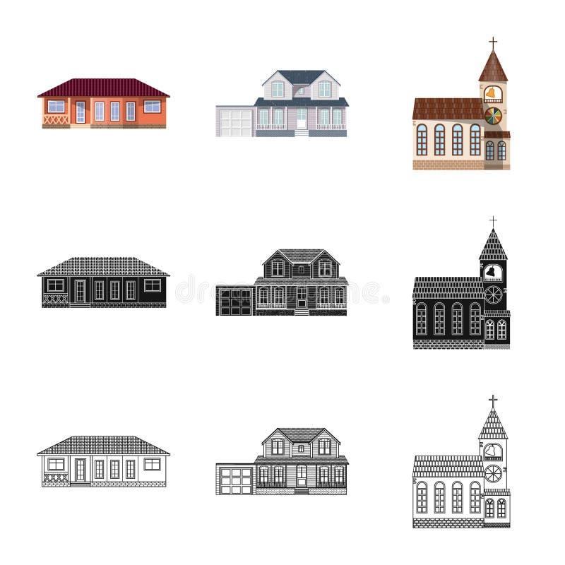 Diseño del vector de edificio y de logotipo delantero Colección de icono del vector del edificio y del tejado para la acción stock de ilustración