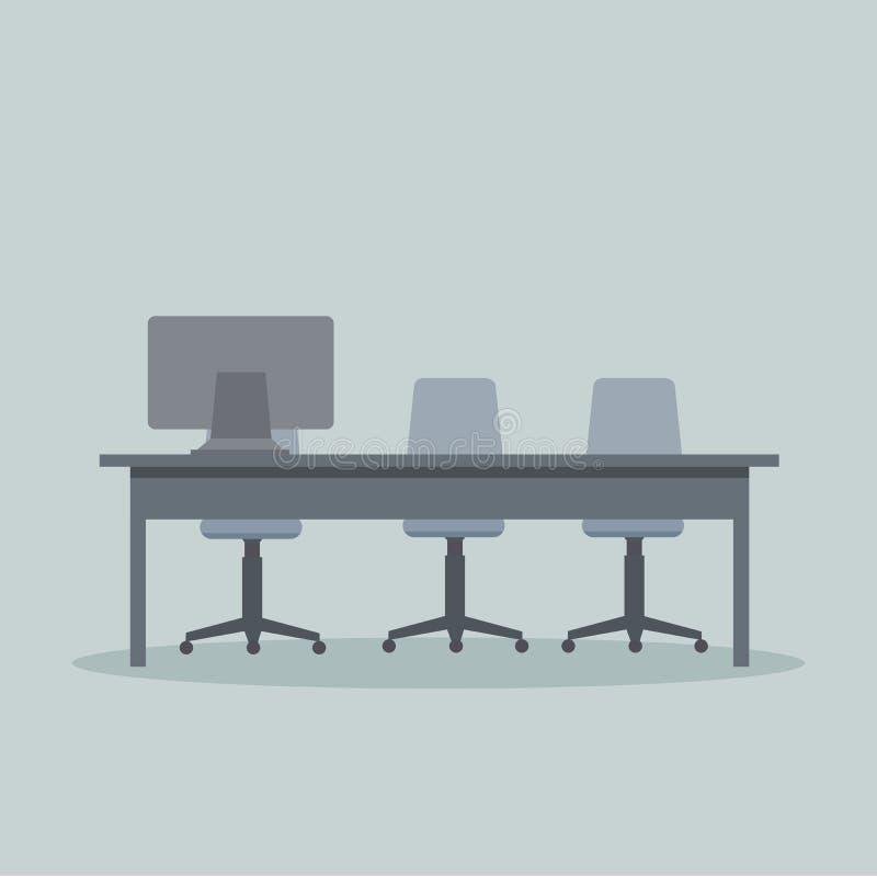 Diseño del vector de escritorio moderno del negocio con una PC ilustración del vector