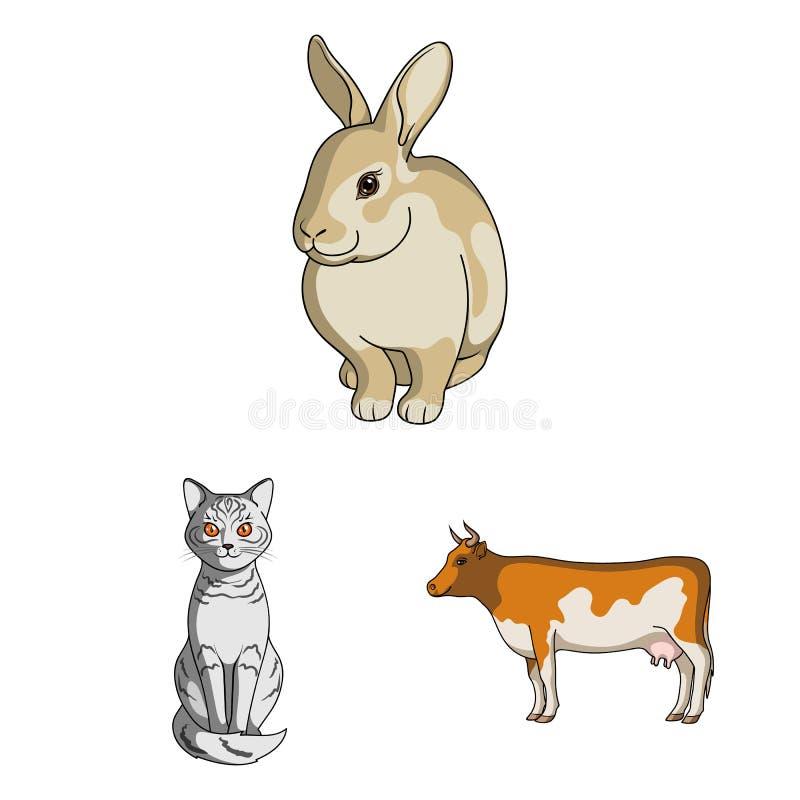 Diseño del vector de icono del animal y del hábitat Colección de ejemplo del vector de la acción del animal y de granja stock de ilustración