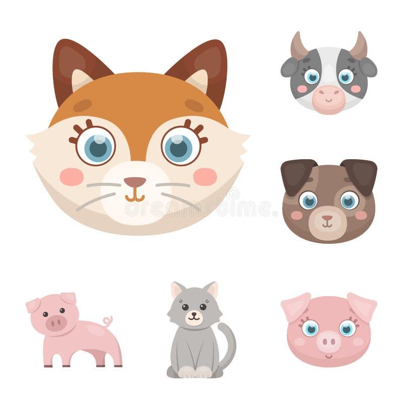 Diseño del vector de icono del animal y del hábitat Colección de icono del vector del animal y de la granja para la acción stock de ilustración