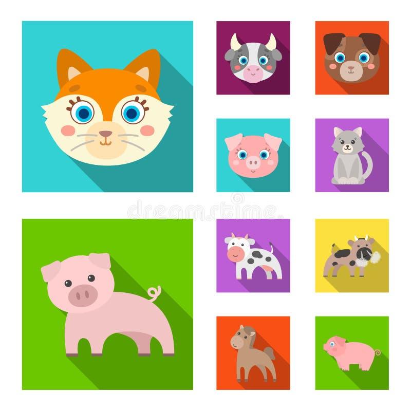 Diseño del vector de icono del animal y del hábitat Colección de símbolo común del animal y de granja para la web libre illustration