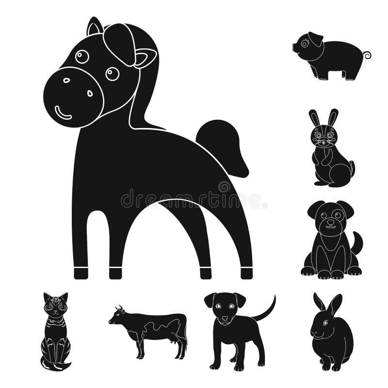 Diseño del vector de icono del animal y del hábitat Colección de símbolo común del animal y de granja para la web ilustración del vector