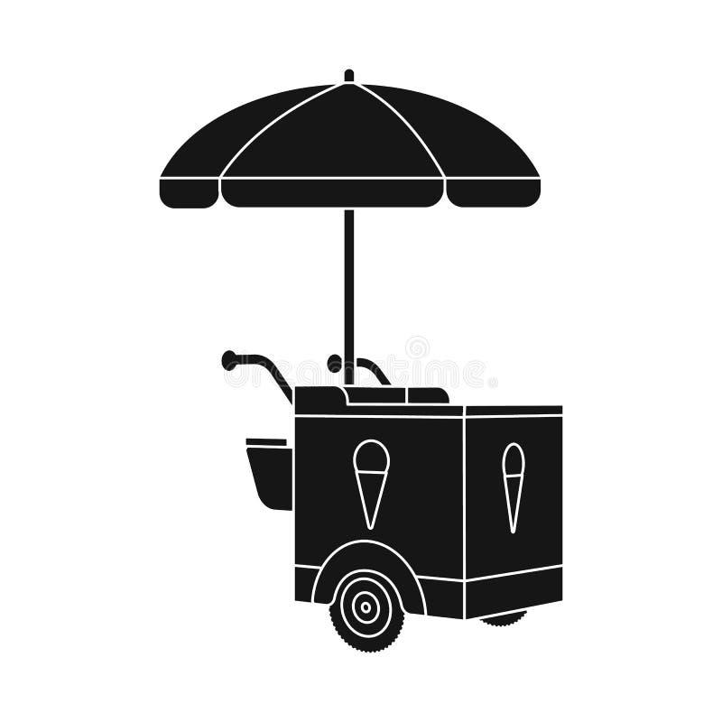 Diseño del vector de icono del carro y del parasol Fije del símbolo común del carro y de la sombrilla para la web stock de ilustración