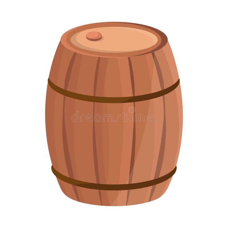 Diseño del vector de icono de madera y del barril Fije del ejemplo de madera y del barril de la acción del vector stock de ilustración
