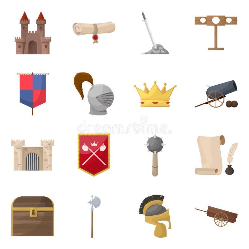 Diseño del vector de icono medieval y de la historia Colección de icono medieval y del torneo del vector para la acción ilustración del vector