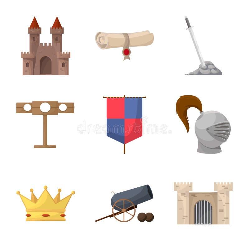 Diseño del vector de icono medieval y de la historia Fije del símbolo común medieval y del torneo para la web stock de ilustración