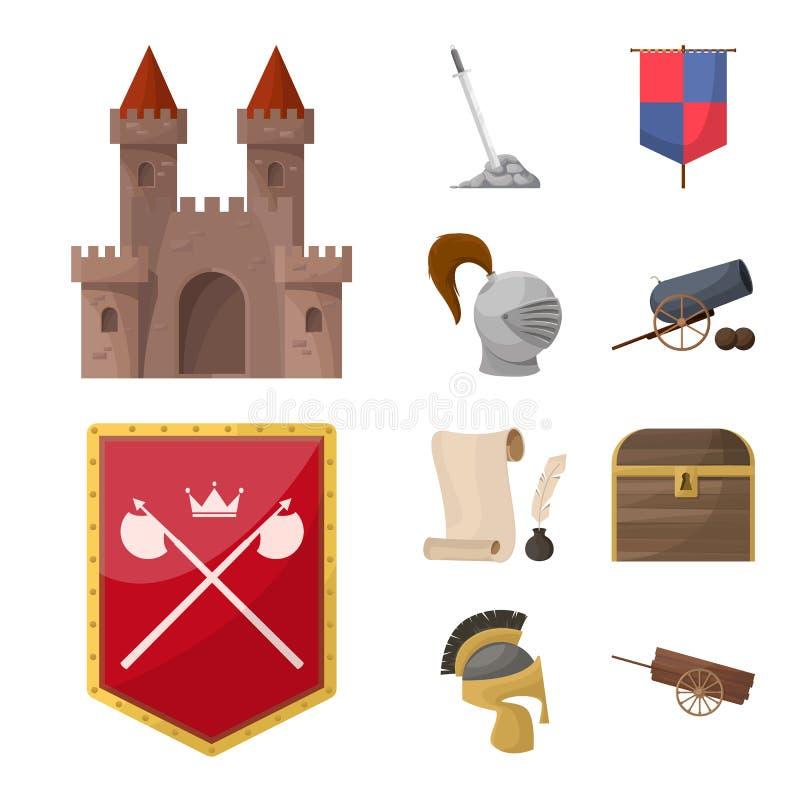 Diseño del vector de icono medieval y de la historia Fije del icono medieval y del torneo del vector para la acción stock de ilustración