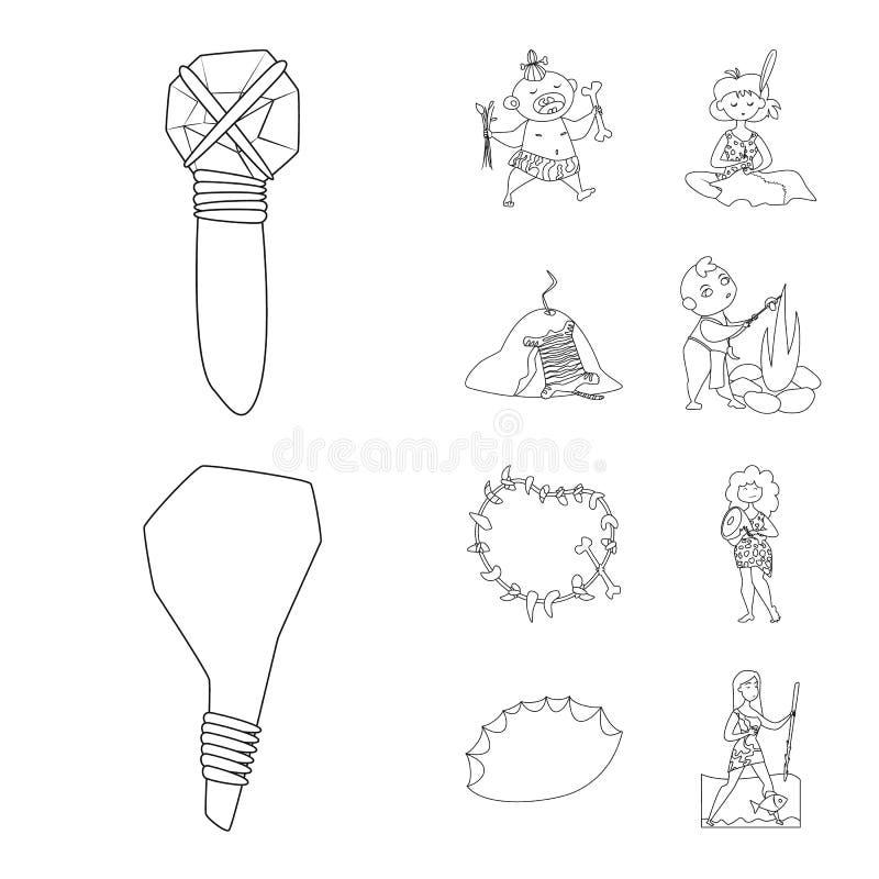 Diseño del vector de icono del primitivo y de la arqueología Fije del icono del vector del primitivo y de la historia para la acc libre illustration