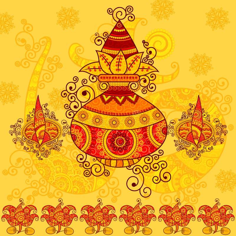 Diseño del vector de kalash con el coco libre illustration