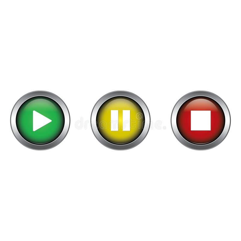 Diseño del vector de la colección de los botones de paro juegue, de la pausa y ilustración del vector