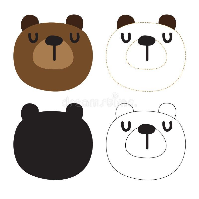 Diseño del vector de la hoja de trabajo del oso ilustración del vector