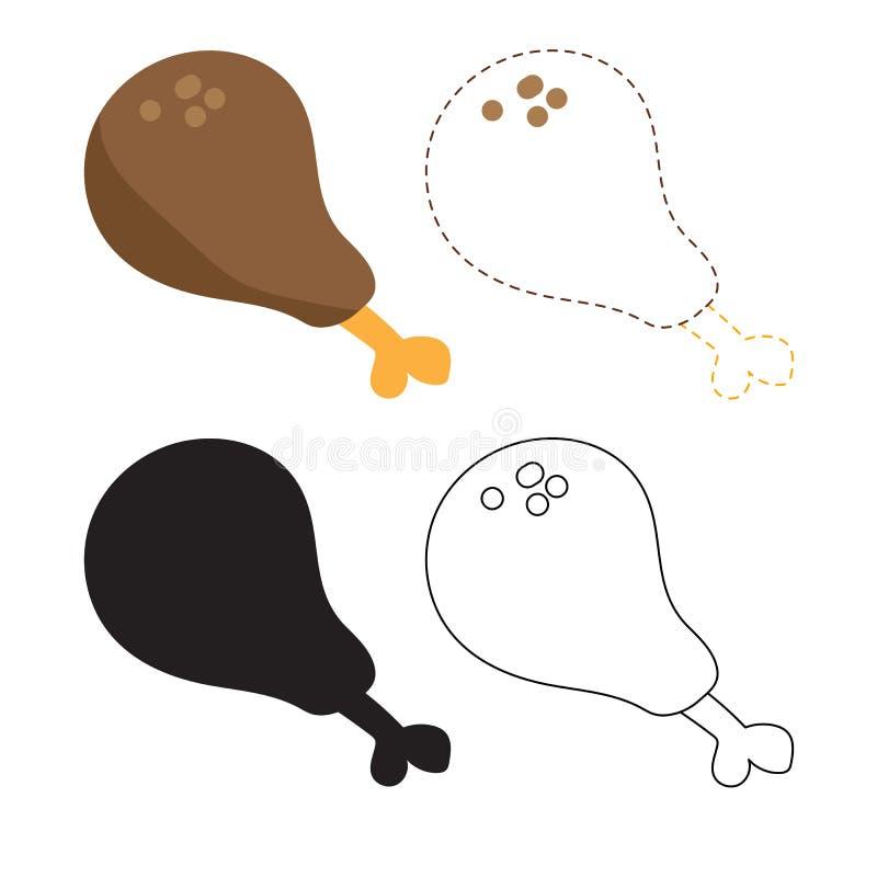 Diseño del vector de la hoja de trabajo del palillo de pollo stock de ilustración