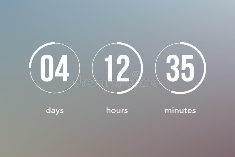 Diseño del vector de la plantilla del sitio web del contador de tiempo del reloj de la cuenta descendiente ilustración del vector